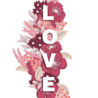 Mot floral amour (fleurs, herbe, feuilles). lettre florale.