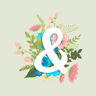 Mot floral & (fleurs, herbe, feuilles). lettre florale.
