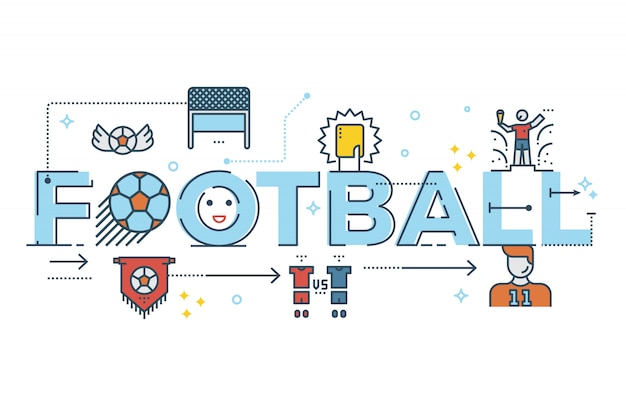Mot de football lettrage illustration de conception de typographie