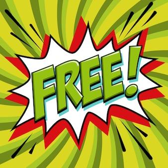 Mot gratuit de style bande dessinée. bannière gratuite en style bande dessinée pop art