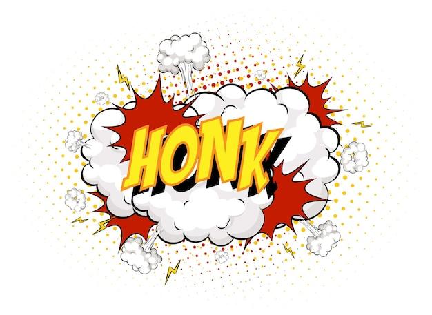 Mot honk sur fond d'explosion de nuage comique