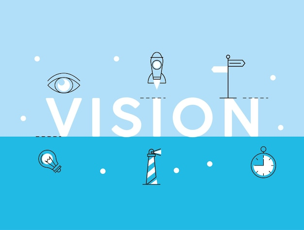 Mot et icônes de vision