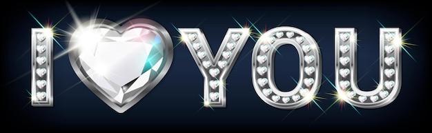 Le mot je t'aime. lettres en argent en forme de cœur avec diamants étincelants. bannière de la saint-valentin. de félicitations.