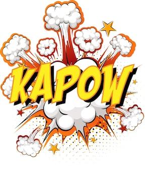 Mot kapow sur explosion de nuages comique