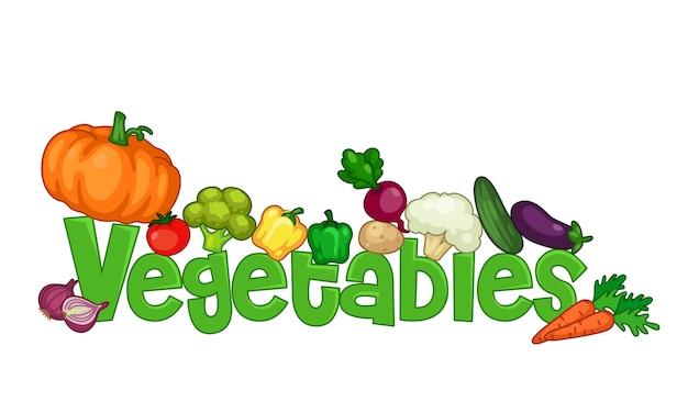 Le mot légumes entouré de légumes