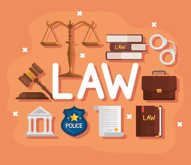 Mot de loi avec des icônes de justice