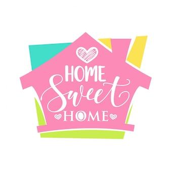 Mot manuscrit home sweet home. illustration vectorielle