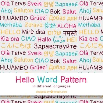 Mot de mot bonjour dessiné à la main dans différentes langues