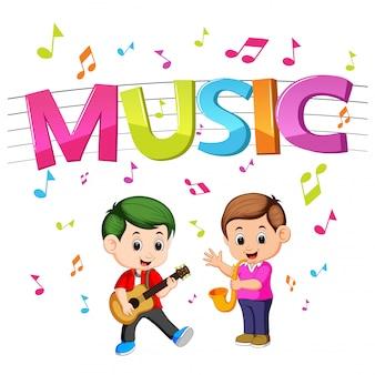 Mot musique avec enfants jouant de la guitare et du saxophone