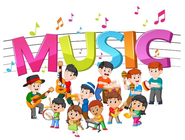 Mot musique avec groupe jouant de la musique