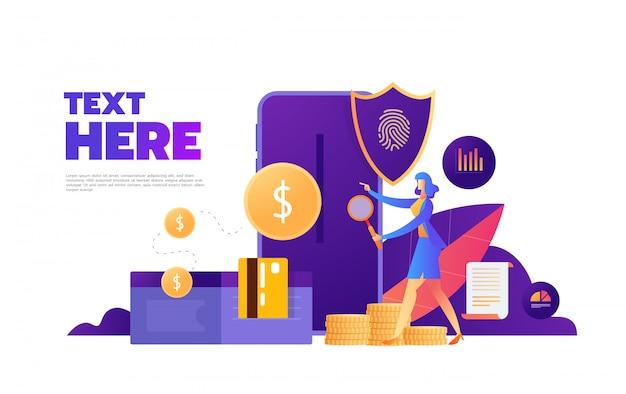 Mot de passe d'accès d'empreinte digitale, femme avec téléphone portable, arrière-plan ultra-violet isométrique d'empreinte digitale de données personnelles