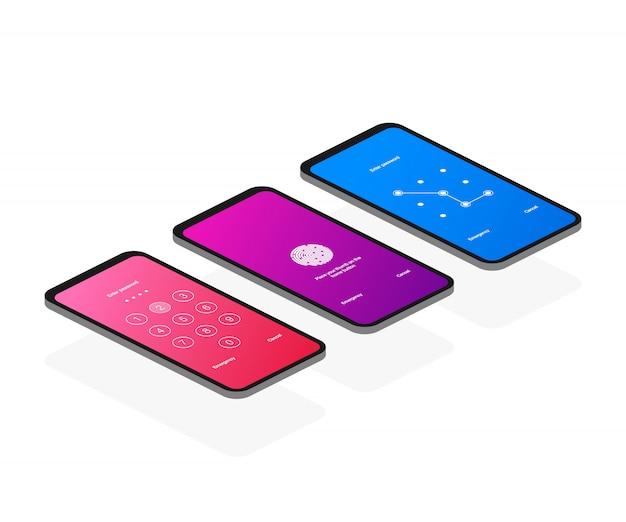 Mot de passe d'authentification de verrouillage d'écran smartphone isométrique
