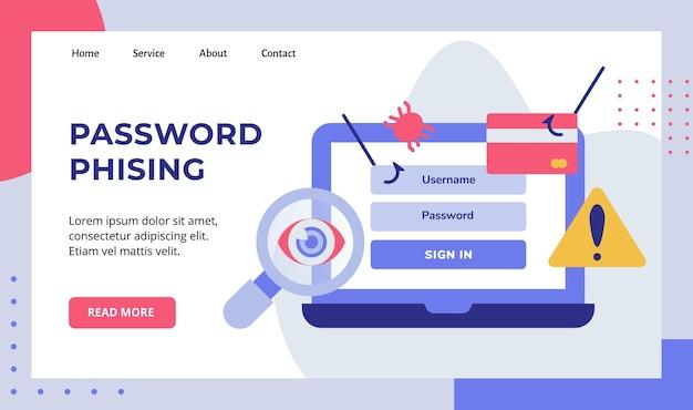 Mot de passe phising sur la campagne d'écran d'ordinateur portable d'affichage pour la page d'accueil du site web page d'accueil modèle de page de destination bannière blanc fond isolé