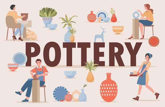Mot de poterie et personnages. affiche de passe-temps artisanal