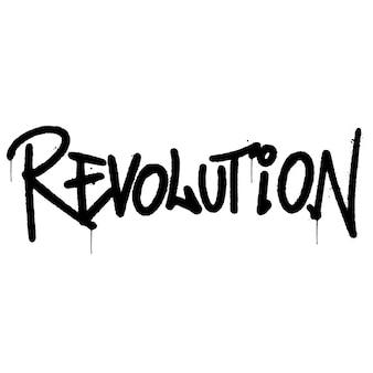 Mot de révolution graffiti pulvérisé isolé