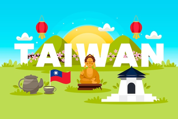 Mot de taiwan avec points de repère