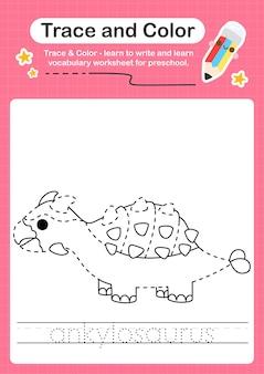Un mot de traçage pour les dinosaures et la feuille de calcul de trace de coloration avec le mot ankylosaurus