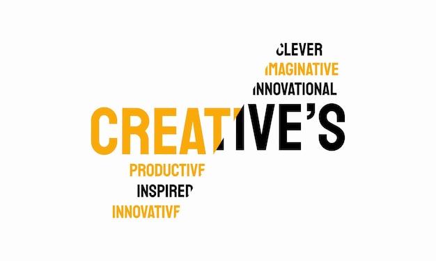 Mot de typographie créative, texte de typographie créative word art vector illustration marketing