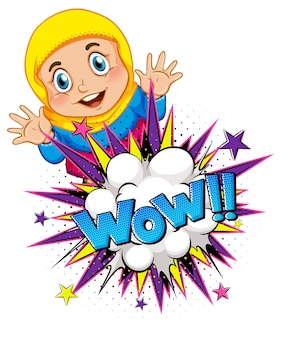 Mot wow sur l'explosion d'une bombe avec un personnage de dessin animé de fille musulmane isolé