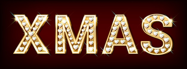 Mot xmas composé de lettres d'or avec des diamants en forme de coeur.