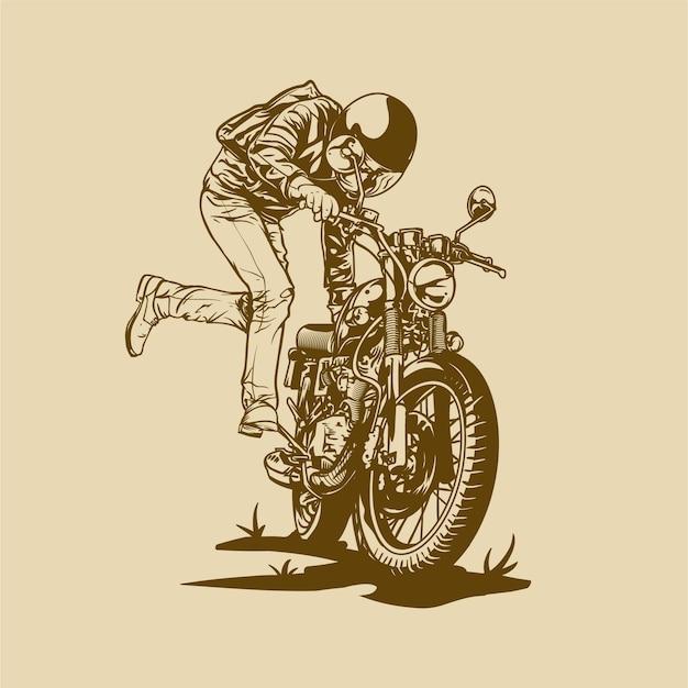 Motard vintage avec moto