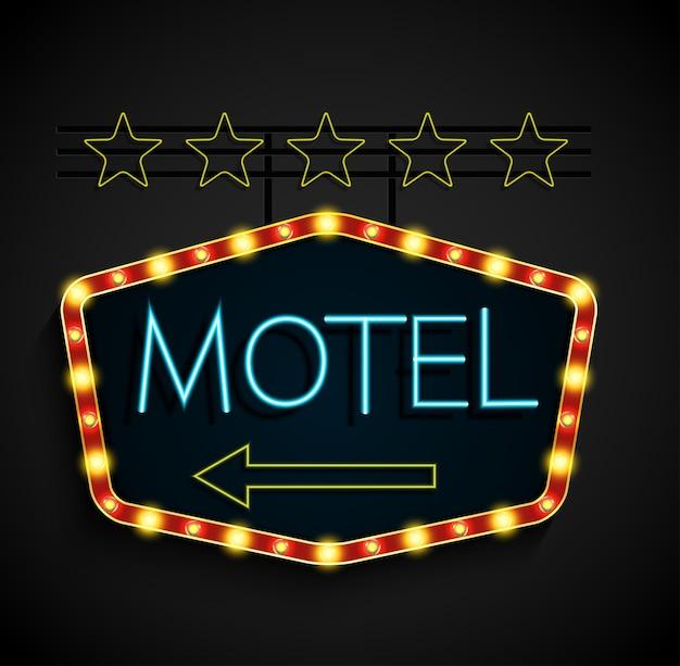 Motel de bannière lumineuse rétro brillant sur fond noir