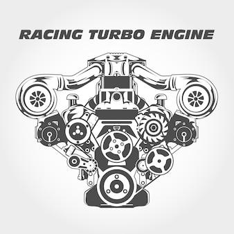 Moteur de course avec puissance de suralimentation - moteur turbo