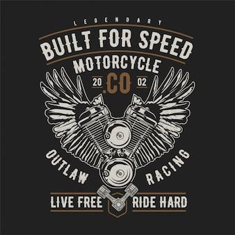 Moteur de moto ailé et texte dessin vectoriel habd