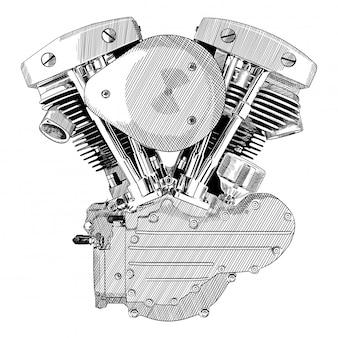 Moteur de moto à combustion interne isolé sur fond blanc.
