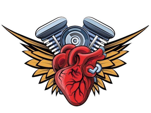 Moteur de moto de vecteur avec illustration des ailes