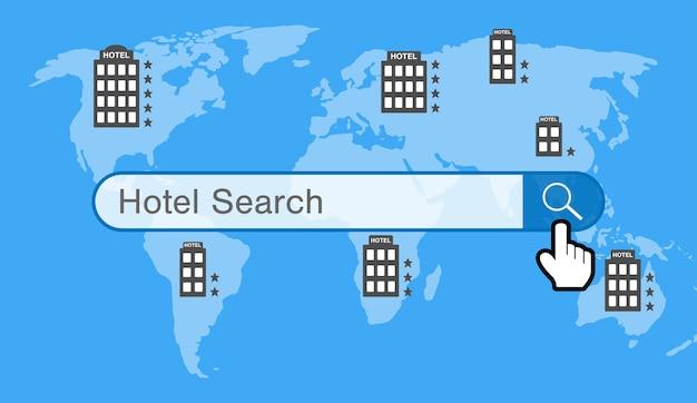 Moteur de recherche d'hôtel avec hôtel sur la carte du monde