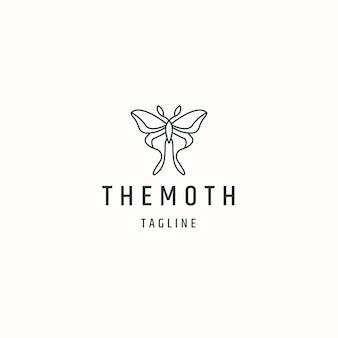 Moth line art logo icône modèle de conception illustration vectorielle plane
