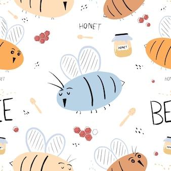 Motif d'abeille sans couture avec abeille dessinée à la main volant un pot de stockage de louche de miel et un pot de miel