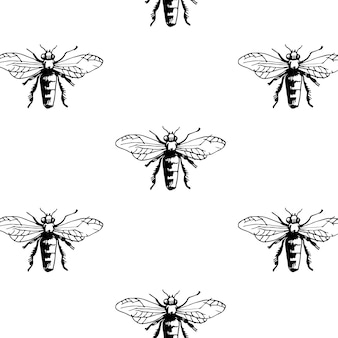 Motif avec les abeilles décalées.