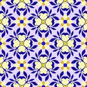 Motif abstrait de fleurs jaunes et violettes