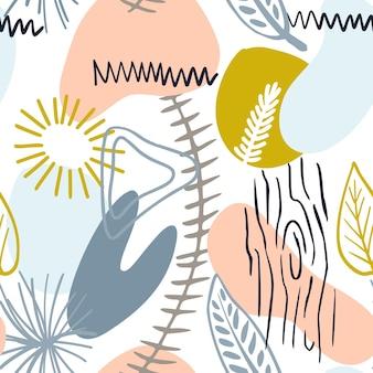 Motif abstrait avec des formes organiques aux couleurs pastel. fond organique de vecteur avec des taches de style memphis. bois de modèle sans couture de collage, texture de nature. textile moderne, papier d'emballage, design d'art mural