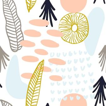 Motif abstrait avec des formes organiques aux couleurs pastel. fond organique de vecteur avec des taches de style memphis. modèle sans couture de collage avec la texture de la nature. textile moderne, papier d'emballage, design d'art mural