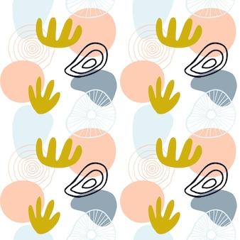 Motif abstrait avec des formes organiques aux couleurs pastel jaune moutarde, rose. fond organique avec des taches. modèle sans couture de collage avec la texture de la nature. textile moderne, papier d'emballage, design d'art mural