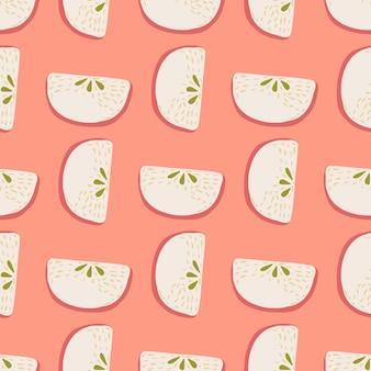 Motif abstrait de griffonnage harmonieux avec des silhouettes de tranches de pomme pastel clair. fond rose. conception graphique pour le papier d'emballage et les textures de tissu. illustration vectorielle.
