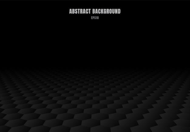 Motif abstrait d'hexagones noirs