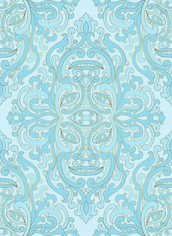 Motif abstrait mystique avec un visage abstrait. ornement bleu transparent.