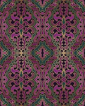 Motif abstrait oriental. ornement vert et violet.