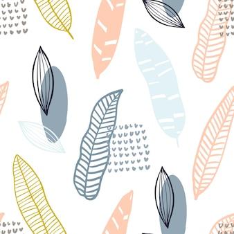Motif abstrait scandinave avec des formes organiques aux couleurs pastel. fond organique avec plume, feuilles. modèle sans couture de collage avec la texture de la nature. textile moderne, papier d'emballage, conception d'art mural