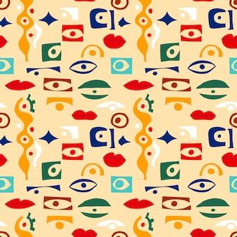 Motif abstrait des yeux avec des formes géométriques dans un style contemporain. modèle sans couture grec de vecteur avec look, yeux dans un style de collage moderne. fond de formes abstraites. illustration dessinée à la main de femmes.