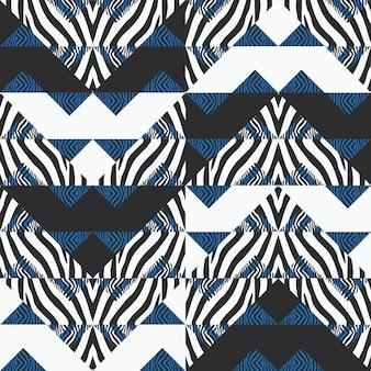Motif abstrait zèbre avec fond triangle géométrique