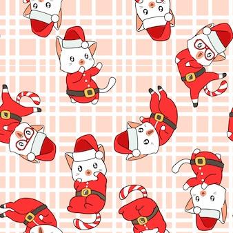 Motif Adorable De Chat Santa Sans Soudure Vecteur Premium
