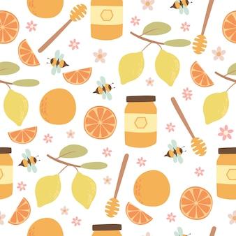 Motif agrumes et miel