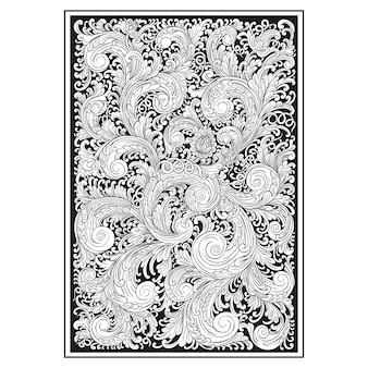 Motif ajouré sculpté. motif indonésien. illustration florale.