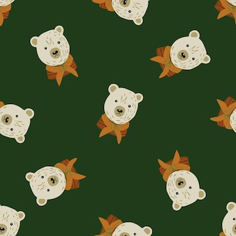 Motif aléatoire sans couture avec ornement tête d'ours doodle.