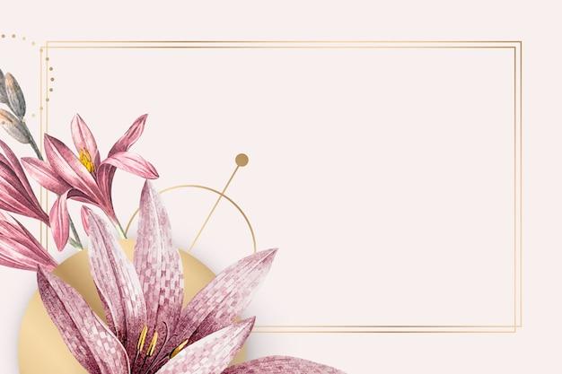 Motif amaryllis rose avec cadre doré